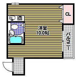 フェローズ21 1階ワンルームの間取り