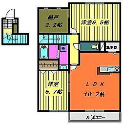 シャルマンC・D[2階]の間取り
