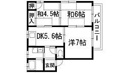 兵庫県宝塚市山本野里1丁目の賃貸アパートの間取り