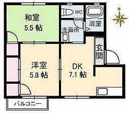山口県下関市横野町1丁目の賃貸アパートの間取り