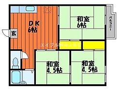 岡山県倉敷市茶屋町の賃貸アパートの間取り