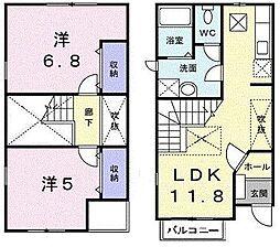 東京都日野市平山5丁目の賃貸アパートの間取り