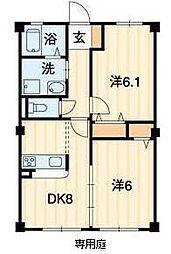 フォブール三浦2 1階2DKの間取り