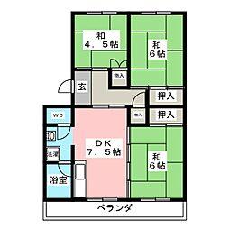 コーポ大豊B[4階]の間取り