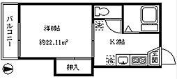 ハタノハウス[201号室]の間取り