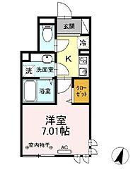 東京メトロ南北線 本駒込駅 徒歩9分の賃貸アパート 1階1Kの間取り