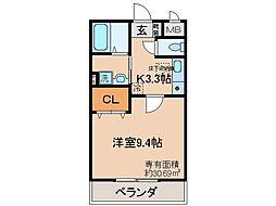 JR奈良線 JR藤森駅 徒歩6分の賃貸マンション 1階1Kの間取り