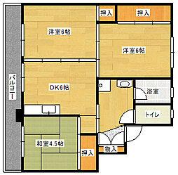 ビレッジハウス吉井II 1号棟[4階]の間取り
