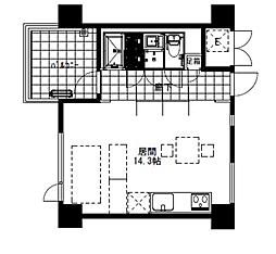 メゾンアーデン3 2階ワンルームの間取り