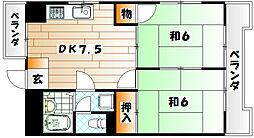 シャトレ上本町[7階]の間取り