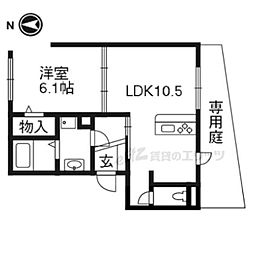 JR東海道・山陽本線 山科駅 徒歩10分の賃貸アパート 1階1LDKの間取り