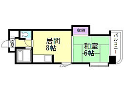 オルゴグラート札幌 8階1DKの間取り