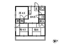 千葉県松戸市新松戸の賃貸アパートの間取り