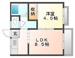 岡山県岡山市中区西川原1丁目の賃貸アパートの間取り