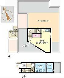 Glanlink Komazawa 4階1Kの間取り