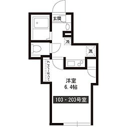 新築パークアレイ笹塚 1階1Kの間取り