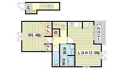 飾磨区加茂アパート[202号室]の間取り