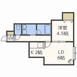 北海道札幌市中央区北八条西19丁目の賃貸アパートの間取り