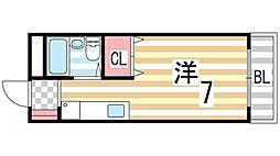 錦[201号室]の間取り