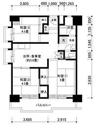 南港わかぎの44号棟[7階]の間取り