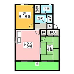 フレグランス 山口 B棟[1階]の間取り