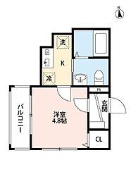 JR東北本線 東大宮駅 徒歩7分の賃貸マンション 1階1Kの間取り