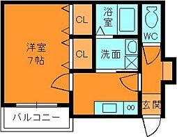 奈良県大和郡山市東岡町の賃貸アパートの間取り