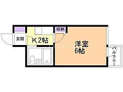 ダイアパレス函館南部坂 6階1Kの間取り