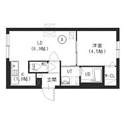 札幌市営東西線 西28丁目駅 徒歩4分の賃貸マンション 4階1LDKの間取り