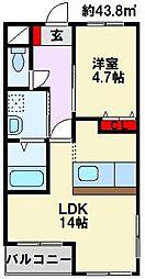 福岡県中間市中間1丁目の賃貸マンションの間取り