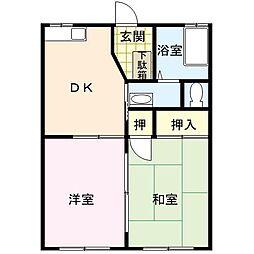 佐賀県唐津市桜馬場の賃貸アパートの間取り