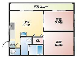 オーナーズマンション南巽[5階]の間取り