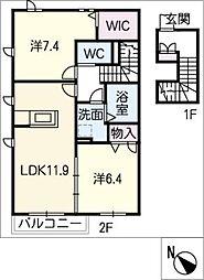 コスモスガーデンWest[2階]の間取り