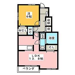 静岡県浜松市中区葵西3丁目の賃貸アパートの間取り