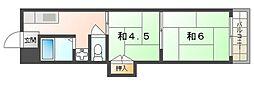 京阪本線 土居駅 徒歩8分の賃貸マンション 3階2Kの間取り