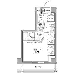 ザ・パークハビオ神泉 4階ワンルームの間取り
