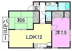 メゾンアムールA・B・C棟[B202 号室号室]の間取り