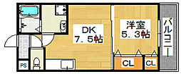 大阪府堺市堺区東湊町1丁の賃貸アパートの間取り