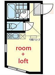 ユナイト横浜ドレスデン 1階ワンルームの間取り