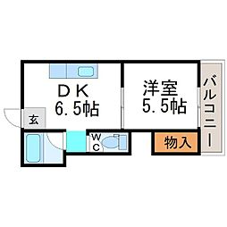 ルワージュ立花[4階]の間取り