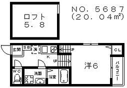 ハーモニーテラス田辺[1階]の間取り