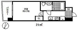 セレニテ三宮プリエ 6階1Kの間取り