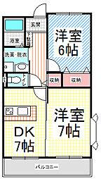 長野県長野市上松4丁目の賃貸マンションの間取り