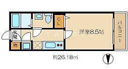 セレブザドリーム都島内代 6階1Kの間取り