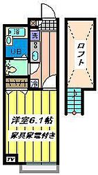 埼玉県戸田市美女木8丁目の賃貸アパートの間取り