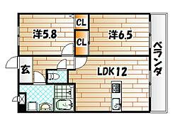 エリオスコート[8階]の間取り