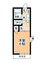 カーサK2 B棟[101号室]の間取り
