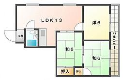 ピースフルマンション[4階]の間取り
