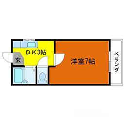 大美コーポ[3階]の間取り
