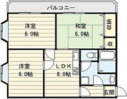 大阪府大阪市生野区小路東2丁目の賃貸マンションの間取り